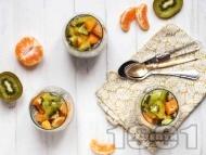 Рецепта Вегетариански пудинг с чиа, кокосово мляко, кленов сироп и плодове